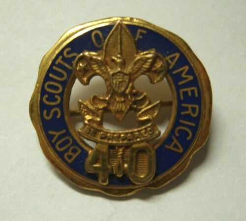 1950s BSA 40 Year Rolled Gold Pin - Boy Scouts of America - PB