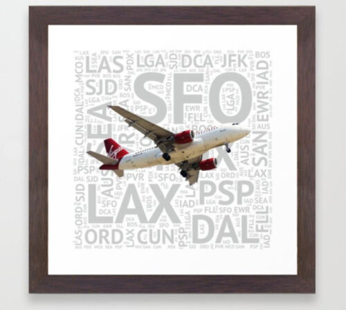Virgin America Airbus A319 with Airport Codes - 12 x 12 Framed Print