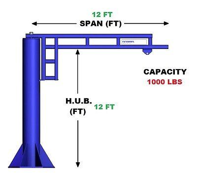 Gorbel Work Station Jib Crane - 12 Ton Capacity Span 12 Ft Hub 12 Ft
