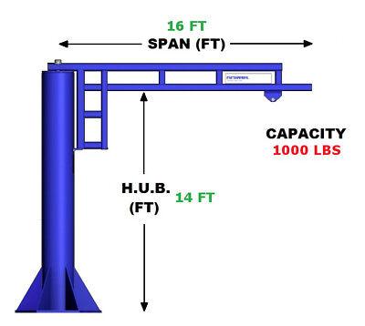 Gorbel Work Station Jib Crane - 12 Ton Capacity Span 16 Ft Hub 14 Ft