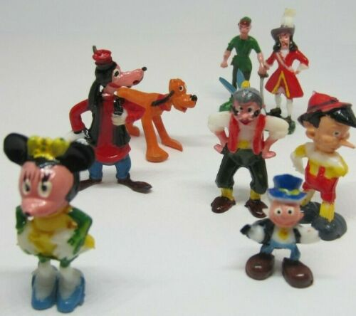 9 Vintage Disney by Marx Small Tiny Figurines Mini Pluto Tinker Bell Peter Pan