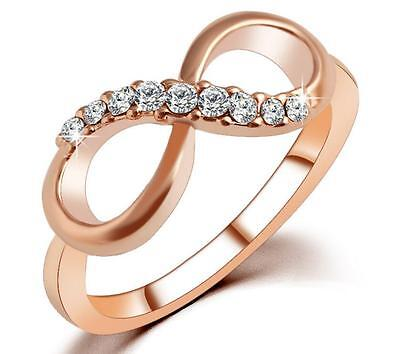 - 18KGP Rose Gold Cubic Zirconia Infinity Promise Wedding Ring and Band