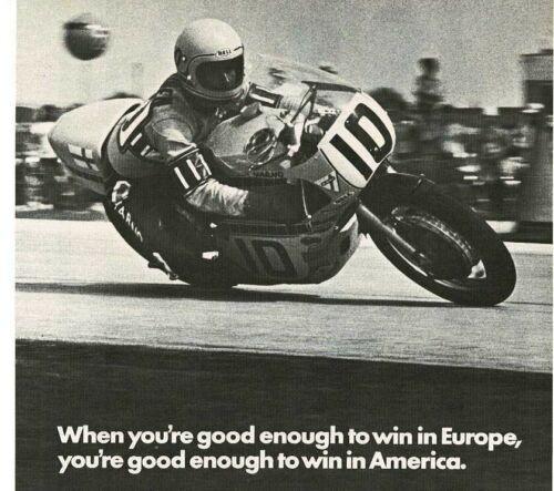 1973 CHAMPION spark plugs Jarno Saarinen wins Daytona 200 Vintage Print Ad