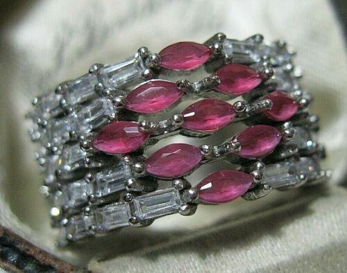 Beautiful Sterling SILVER Lab Ruby & Topaz Gem Stone RING Size O 7