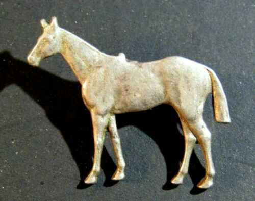 1930s TINY STERLING SILVER QUARTER HORSE LAPEL PIN ESTATE SALE FIND