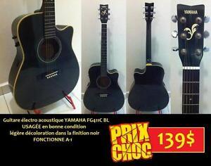 AUBAINE Guitare Électro acoustique usagée YAMAHA FG411C BL Cutaway ET +