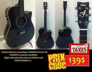 DERNIER JOUR PAS DE TAXES Guitare Électro acoustique YAMAHA FG411C BL Cutaway ET +