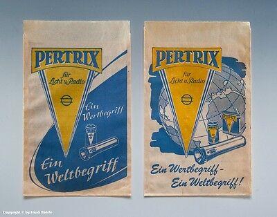 2 x Tüten PERTRIX für Licht und Radio um 1955