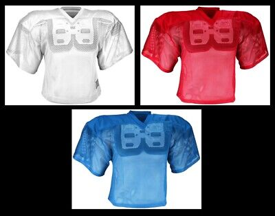 Adult Football Practice Jersey - Porthole Polyester Mesh - Blue - Red - -