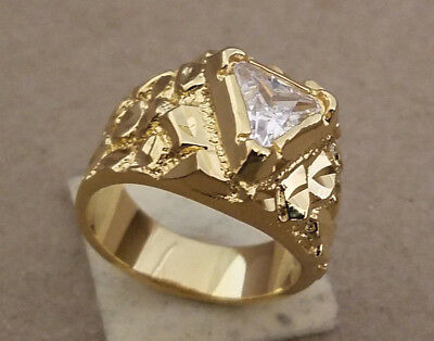 Men's Yellow Gold Plated Clear Trilliant Cut CZ Solitaire Nugget Ring Size 10.5