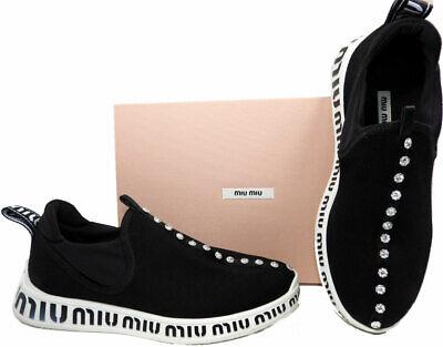 Miu Miu by Prada Logo Slip-On Sneakers Logo Crystals Flat Black Neopren Shoes (Slip On Miu Miu)