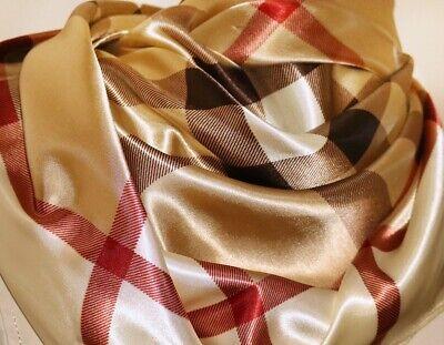 "Silk Scarf Shawl Plaid Nova Check Plaid Beige Red Square 36"" Burberry - Patterned Silk Scarf"