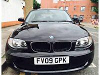 BMW 1 SERIES 2009 BLACK 2.0 Diesel, Long MOT, 59k, Full Service History, £30 Road Tax for