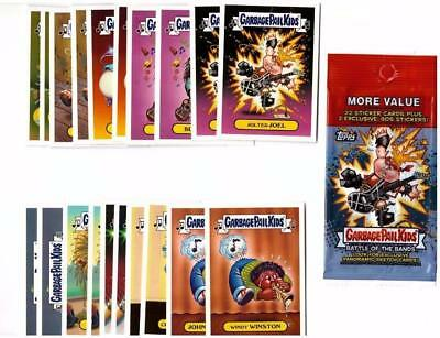 2017 GARBAGE PAIL KIDS BATTLE OF THE BANDS CLASSIC ROCK STICKER SET + WRAPPER