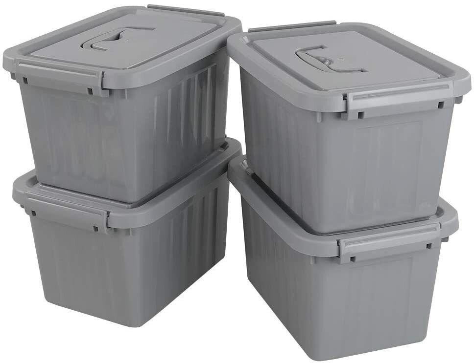 Grey Plastic Storage Bin, 6 Quart Latching Box Container wit