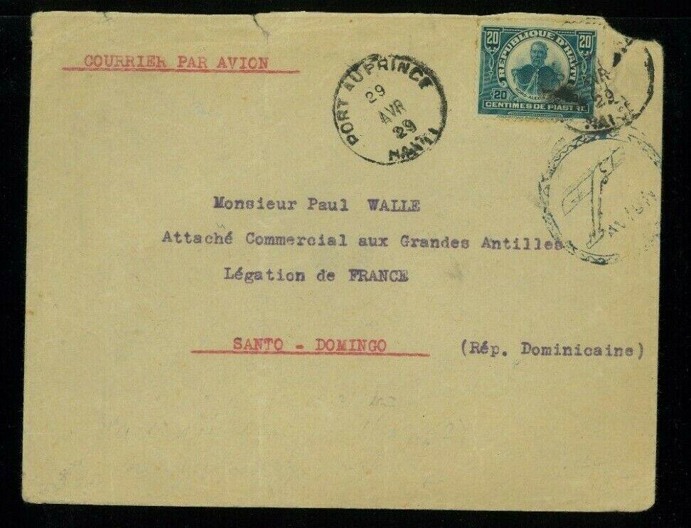 Haiti 1929 Airmail Port Au Prince To Santo Domingo, DR Franked Solo Scott 140 - $19.99