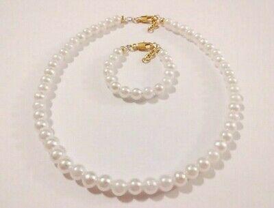Newborn/Baby girls gold plated pearl bracelet and necklace set  Infant Baby Bracelet