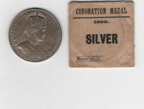Great Britain, 1902 official 31mm silver Coronation medal with original mint env