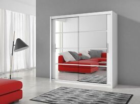 BRAND NEW MODERN DESIGN SLIDING WARDROBE LUX 2 - 160 / 203 CM *** FREE NEXT DAY DELIVERY ***