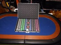 2x folding poker tables & 4000 chips in metal cases never used