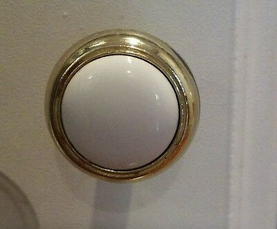 White Enamel/Brass Cabinet knobs, pulls with screws ~Set of 2~ 1.25