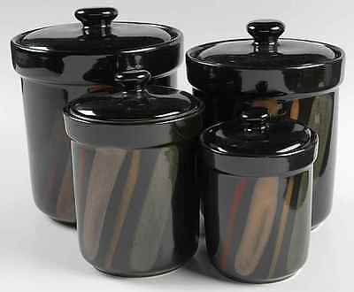 Sango AVANTI BLACK 4-Piece Canister Set (Box Set) on Rummage