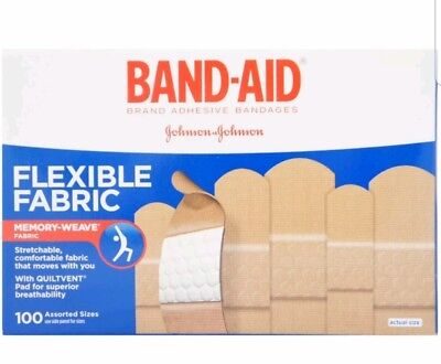 BAND-AID Flexible Fabric Adhesive Bandages Assorted 100 ea Damaged box