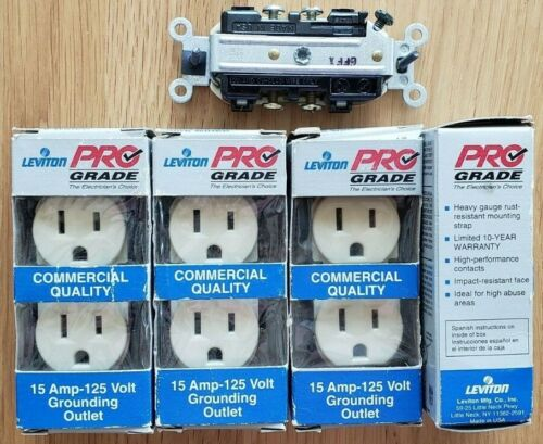 Four Leviton Ivory Spec Grade Duplex Receptacles, Side Wire Only, NIB