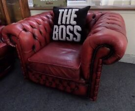 Stunning Chesterfield Low Back Club Chair Oxblood Red Leather UK Delivery