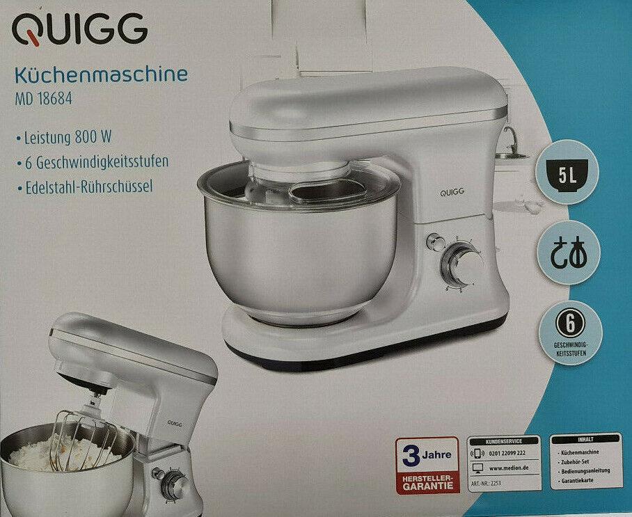 QUIGG Küchenmaschine MD18684 Retro 800 Watt 6 Leistungsstufen Puls-Funktion Neu