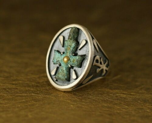 BYZANTINE ANTIQUE CROSS RING STERLING SILVER & GOLD SIZE 12 HAND MADE IN ITALY