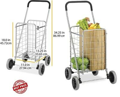 Best Foldable Utility Shopping Cart Jumbo Basket Outdoor Grocery Laundry Wheels