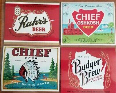 Beer 12 Oz Bottle Label (Beer Bottle Labels Chief / Rahrs / Chief Oshkosh / Badger Brew (Set of 4) 12oz  )