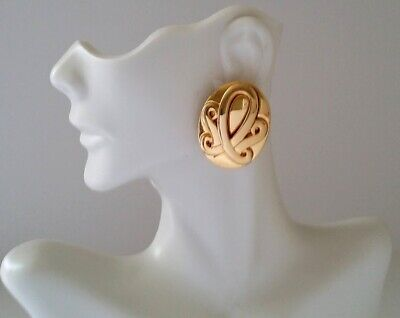 Vintage Signed GIVENCHY Oval Clip On Earrings