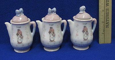 Set 3  Precious Moments 1995 Miniature Mini Teapot w/ Lid Girl Ginger Pastel
