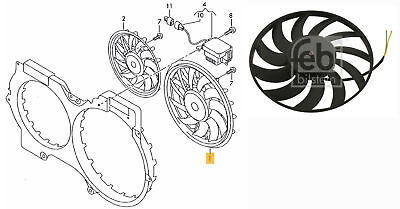 Radiator Fan (left) for Audi A6, A6 Allroad - FEBI BILSTEIN 30742