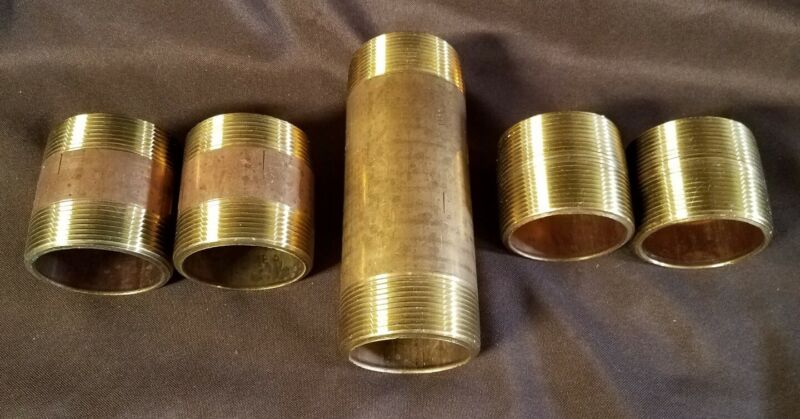"""5 Brass 2"""" Nipples From 2"""" Close To 6"""" In Length"""