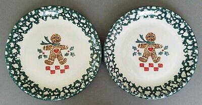 TIENSHAN FOLK CRAFT GINGERBREAD MAN (2) Dinner Plates Green Sponge Christmas](Gingerbread Man Craft)