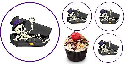 Halloween Sarg Skelett Eßbar Muffin Tortenaufleger Party Deko Tortendeko Kostüm