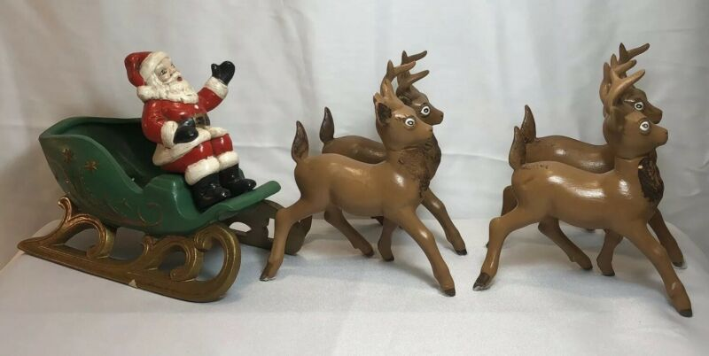 vintage ceramic santa sleigh and 4 reindeer Holland Mold handmade.  (A4)