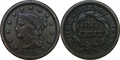 1846 1C Braided Hair Large Cent Small Date RPD N-6 Fine
