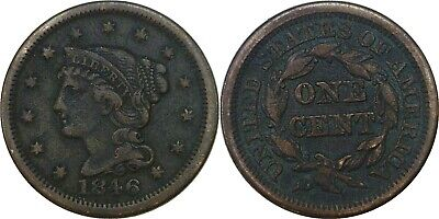 1846 1C Braided Hair Large Cent Small Date Very Fine Details