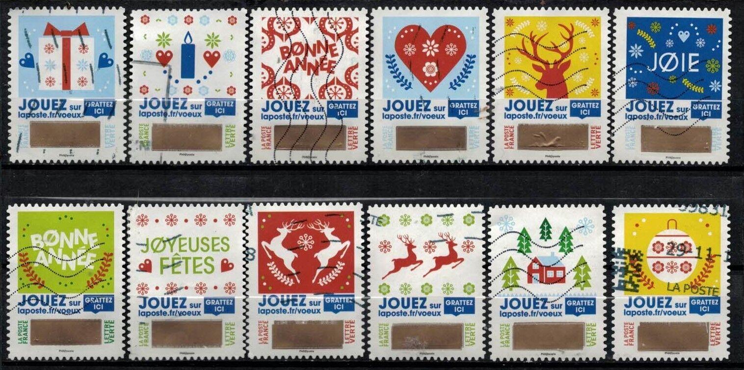 france 2018 : les 12 timbres du carnet à gratter - plus que des voeux - oblitéré