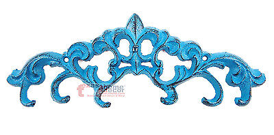 Small Turquoise Fleur De Lis Key Holder with 6 Hooks Cast Iron Wall Mounted (Lis Key)