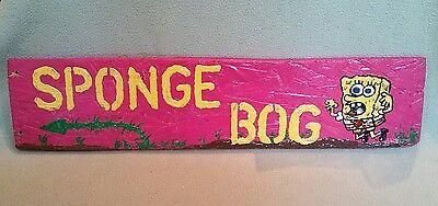 SPONGE BOG Wooden Sign Décor Hand Painted - Whimsical Garden Sign Bog & Wetlands