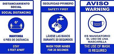 C-19 Virus Pandemic Sticker Bilingual Englishspanish Warning Signs - Decals