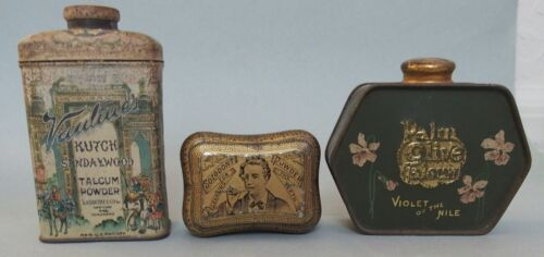 THREE ADVERTISING POWSER TINS, ONE TOOTH AND 2 LADIES POWER TINS ALL EXCELLENT