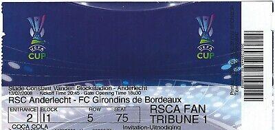 Ticket: Anderlecht - Girondins de Bordeaux UEFA (13-2-08)