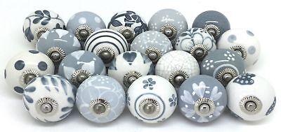 White and Grey Vintage Ceramic Cabinet Door Knobs Cupboard Drawer Pulls/Handles Cabinet Door Knobs And Pulls