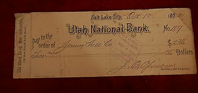 1892 Slc Utah State National Bank Check 189 Jeremy Salt Co 22Nd Ward Lds Mormon